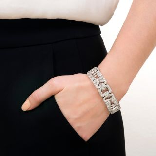 Wide Art Deco Platinum Diamond Bracelet