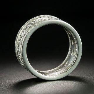 Wide Diamond Engraved Wedding Band, Size 5 1/2