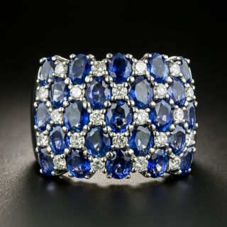 Wide Sapphire Diamond Band Ring - 2