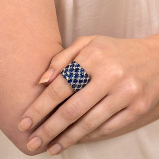 Wide Sapphire Diamond Band Ring