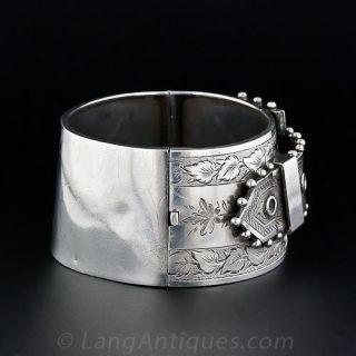 Wide Sterling Silver Belt Motif Cuff Bracelet