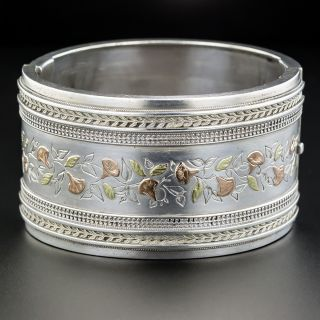 Wide Victorian Silver & Gold Bangle - 2