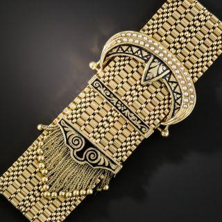 Wide Victorian Style Gold Buckle Tassel Bracelet  - 2