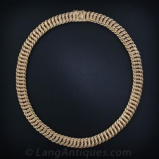 Woven Gold Estate Necklace and Bracelet