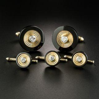 Yellow Gold Onyx and Diamond Stud Set