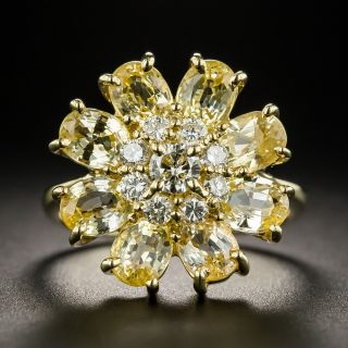 Yellow Sapphire and Diamond Cluster Ring - 1