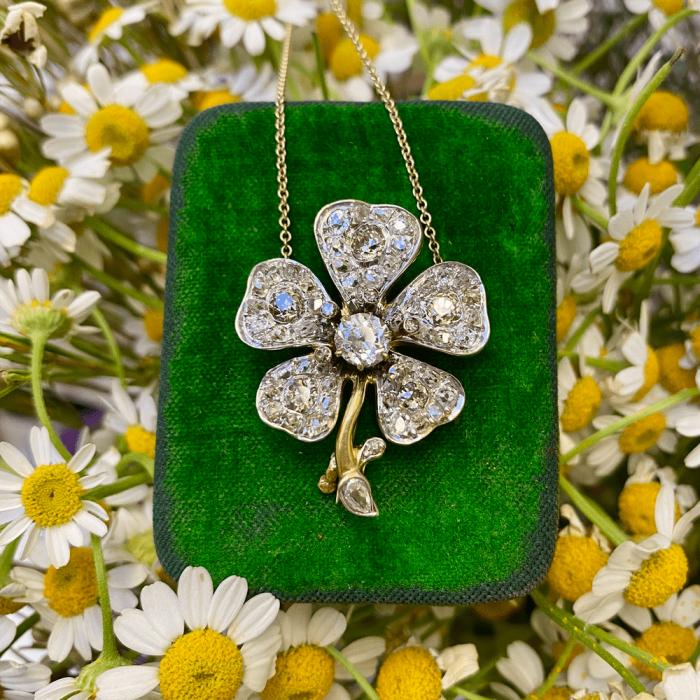 Victorian Diamond Flower Brooch/Pendant - 5