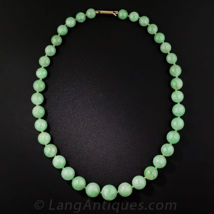 Type A Burmese Varying Green Graduated Size Jadeite Bead Necklace 6.2-10.5mm size JBN01450107-G