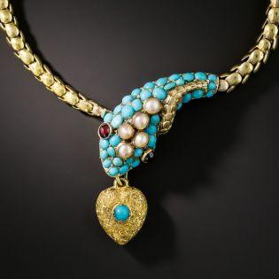 English Victorian Persian Turquoise Snake Bracelet - 2