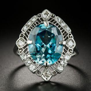 Large Edwardian 9.85 Carat Blue Zircon and Diamond Ring - 3