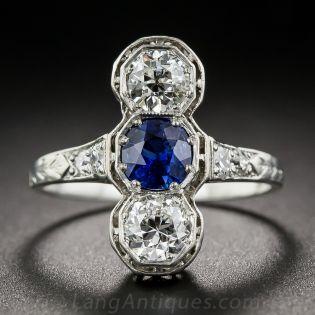 No-Heat Burmese Sapphire and Diamond Three Stone Dinner Ring - 2