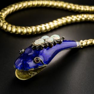Victorian Blue Enamel and Opal Snake Necklace - 2
