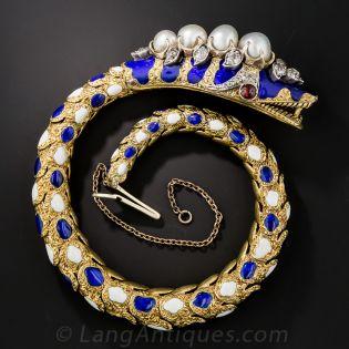 Victorian Enamel Diamond Natural Pearl Snake Bracelet - 1