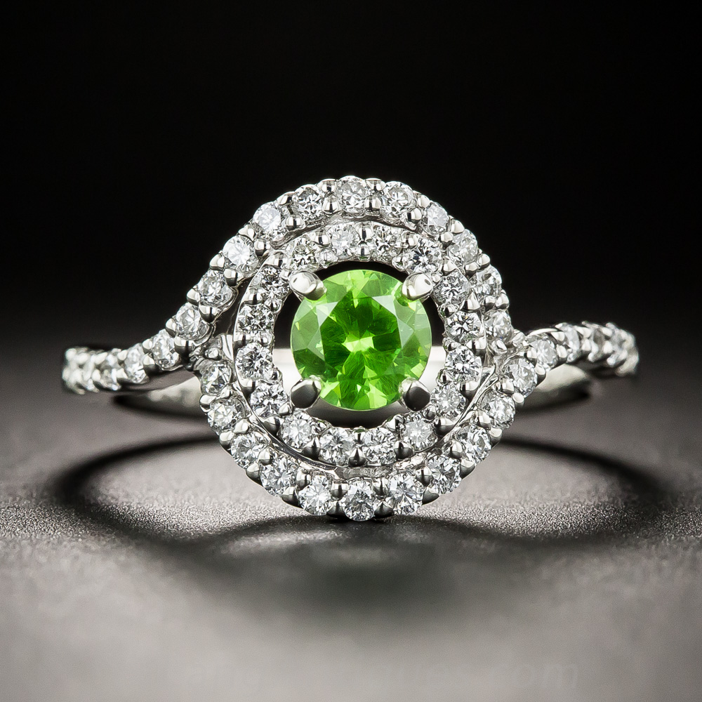 Demantoid Garnet Platinum Diamond Ring
