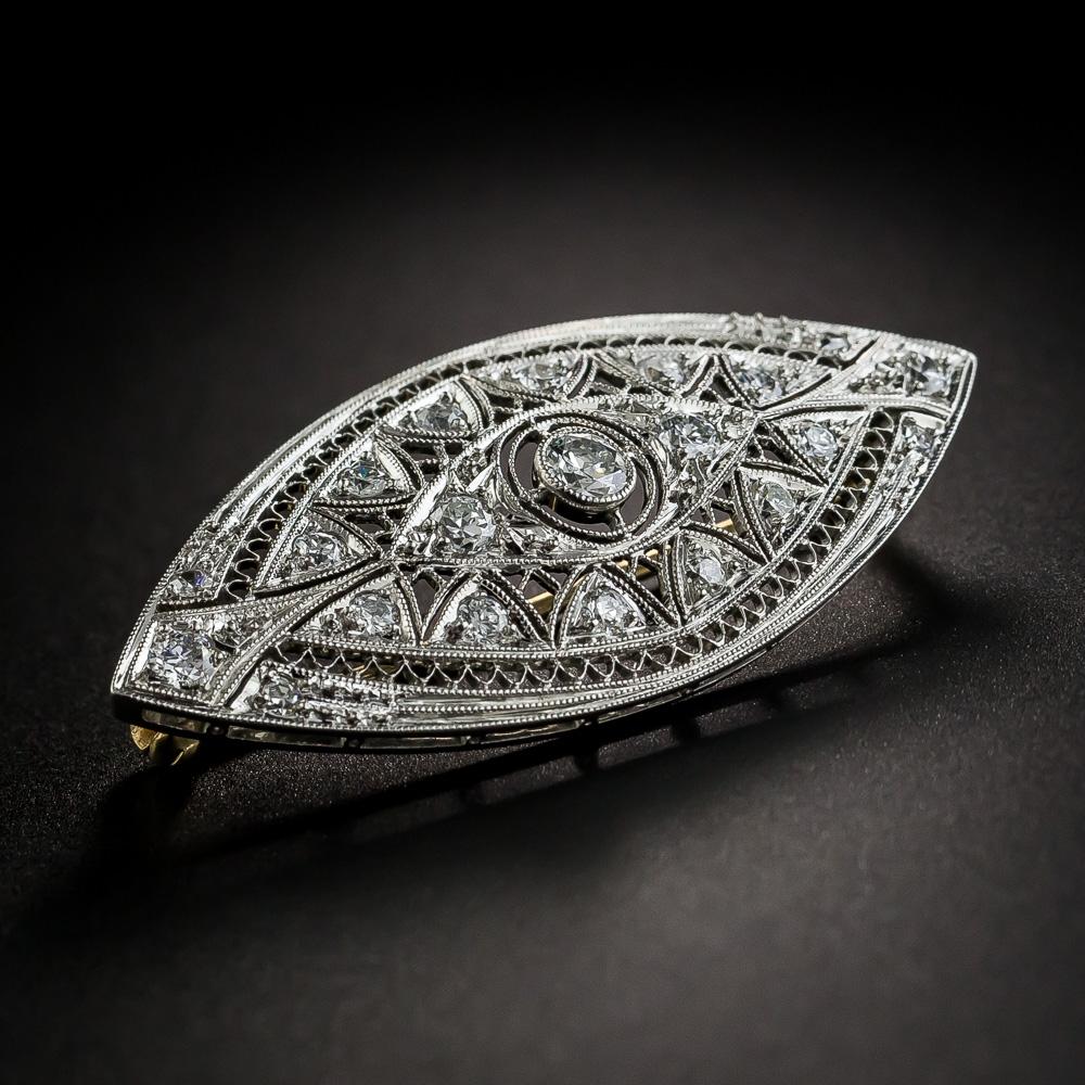 Early Art Deco Platinum Diamond Brooch