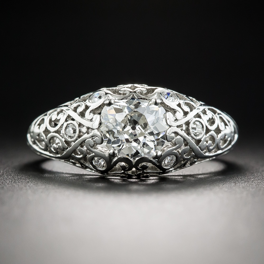 Edwardian 92 Carat Diamond Platinum Filigree Engagement Ring