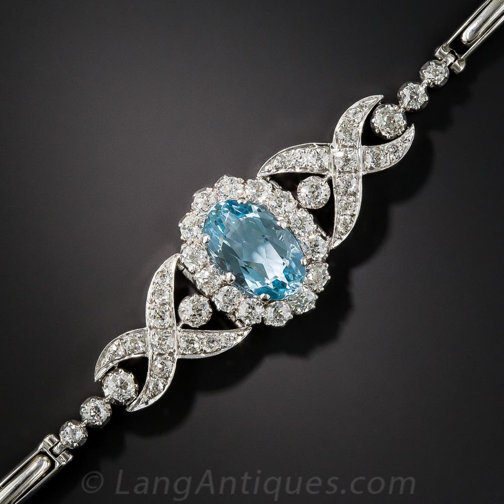 Edwardian Aquamarine And Diamond Bracelet