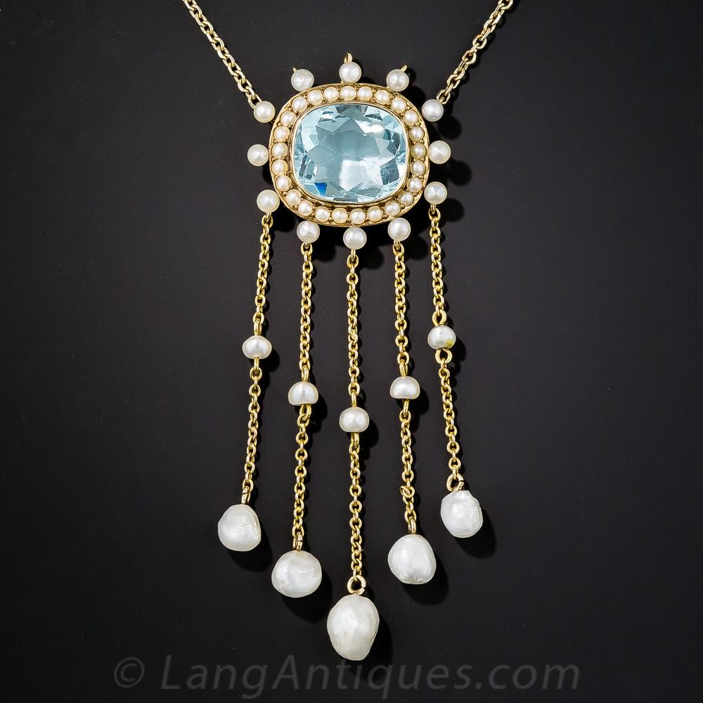 Edwardian Aquamarine And Pearl Necklace Antique