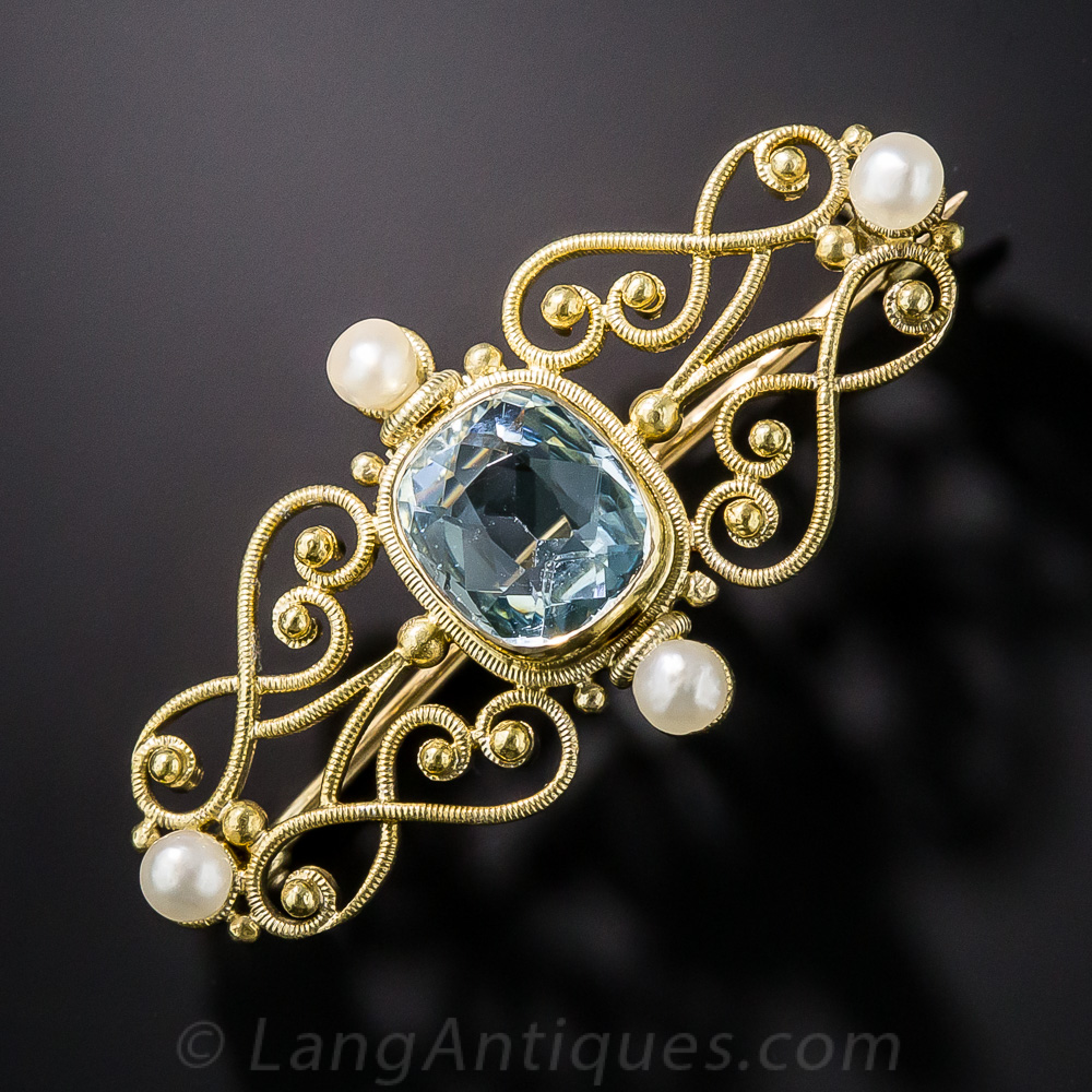 Edwardian aquamarine and pearl pin by c v dougherty of for Antique jewelry stores nyc