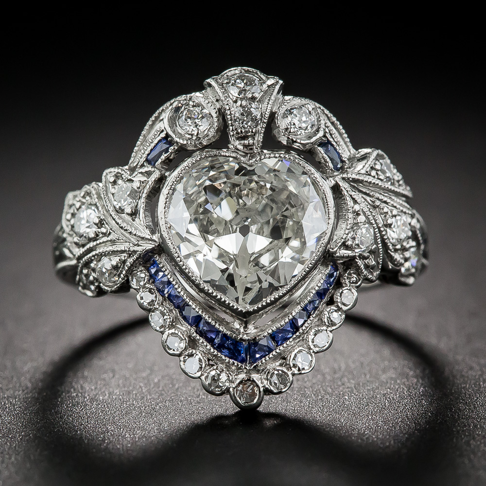Edwardian Heart Shaped Diamond And Sapphire Ring