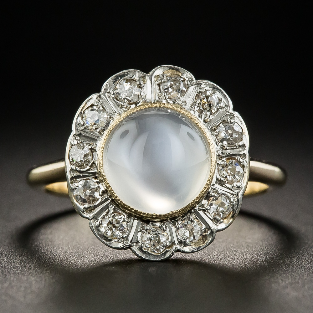 Edwardian moonstone cat 39 s eye diamond halo ring for Cat s eye moonstone jewelry