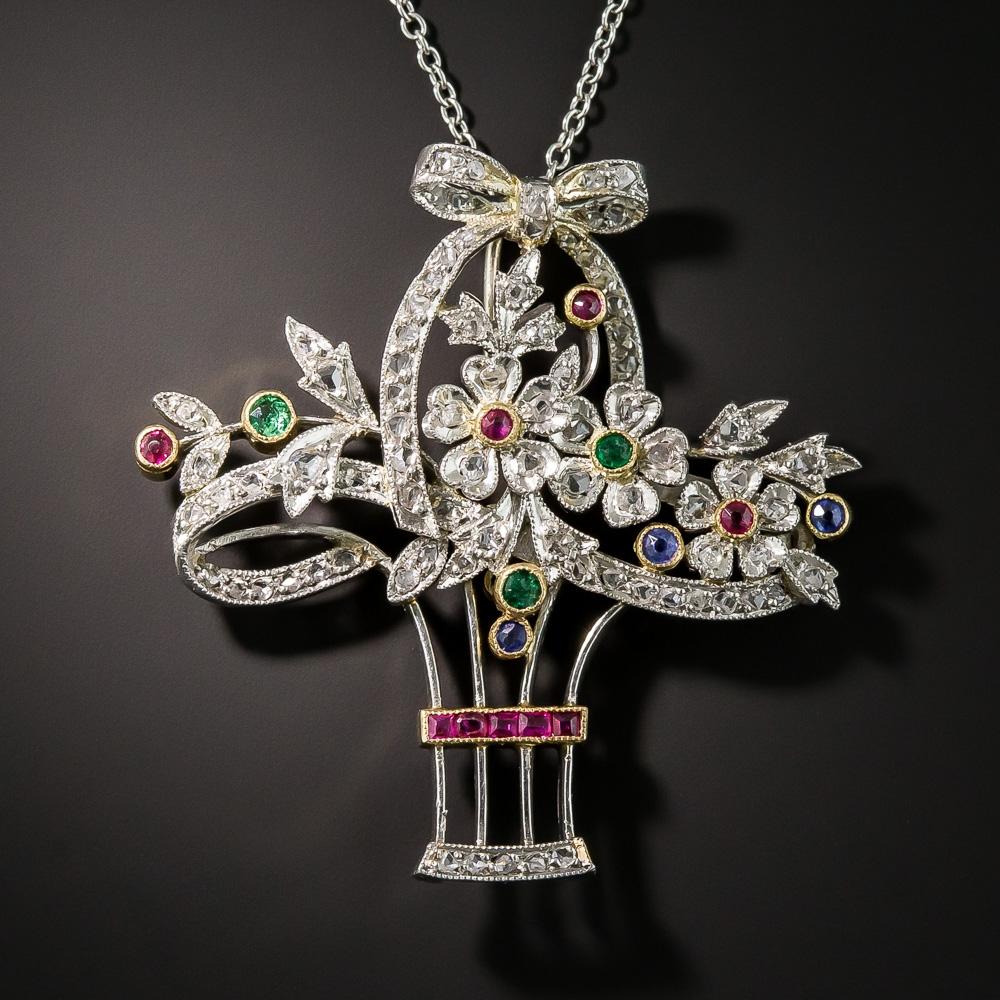 Edwardian Platinum Emerald Sapphire Ruby And Diamond