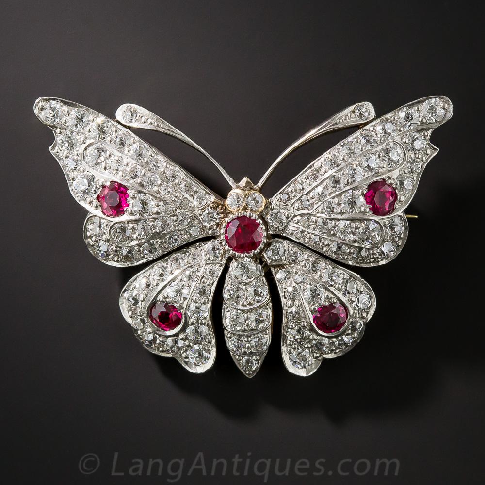 Edwardian Ruby And Diamond Butterfly Pin Circa 1900