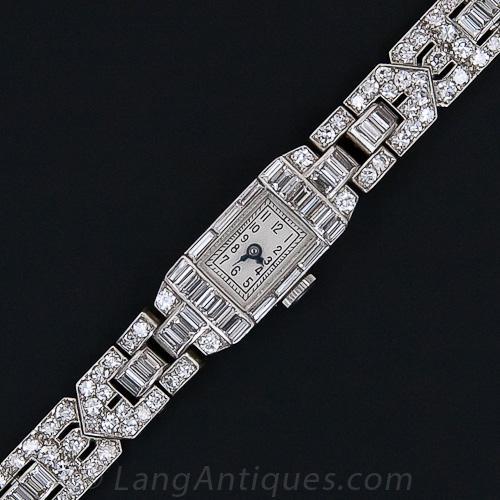 Elegant French Art Deco Diamond Bracelet Watch