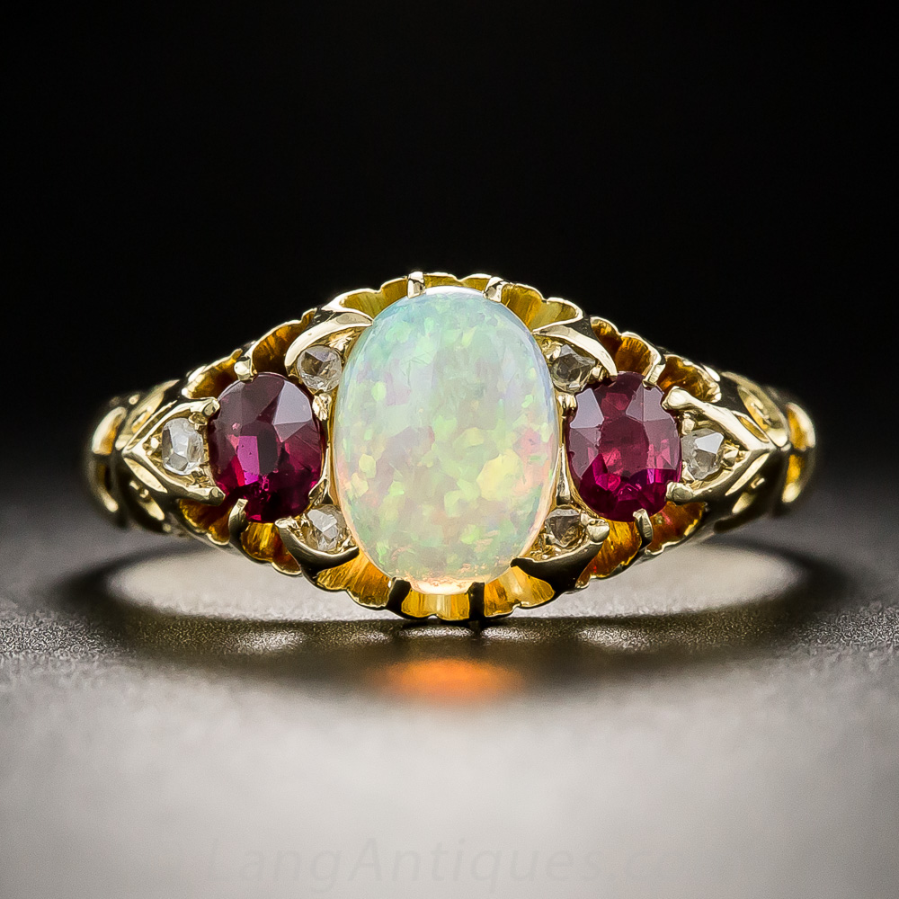 English Vintage Style Opal And Ruby Ring