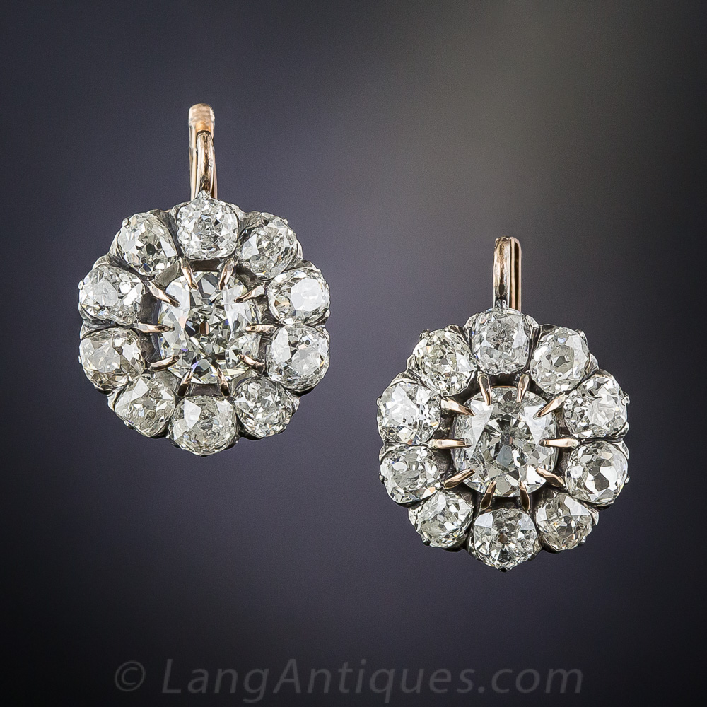 French Antique Diamond Cluster Earrings