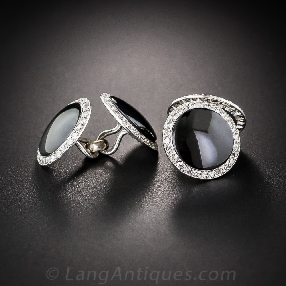 French Art Deco Onyx And Diamond Cufflinks