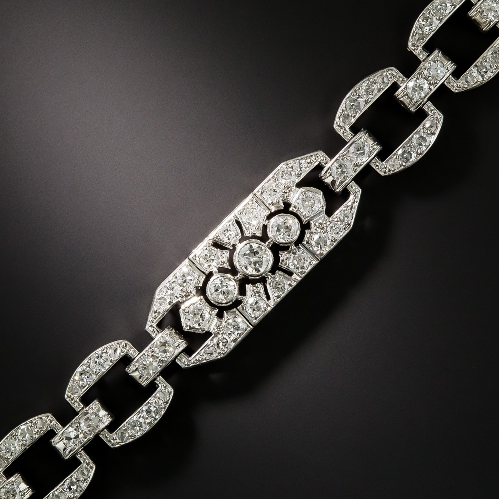 French Art Deco Platinum Diamond Bracelet Antique