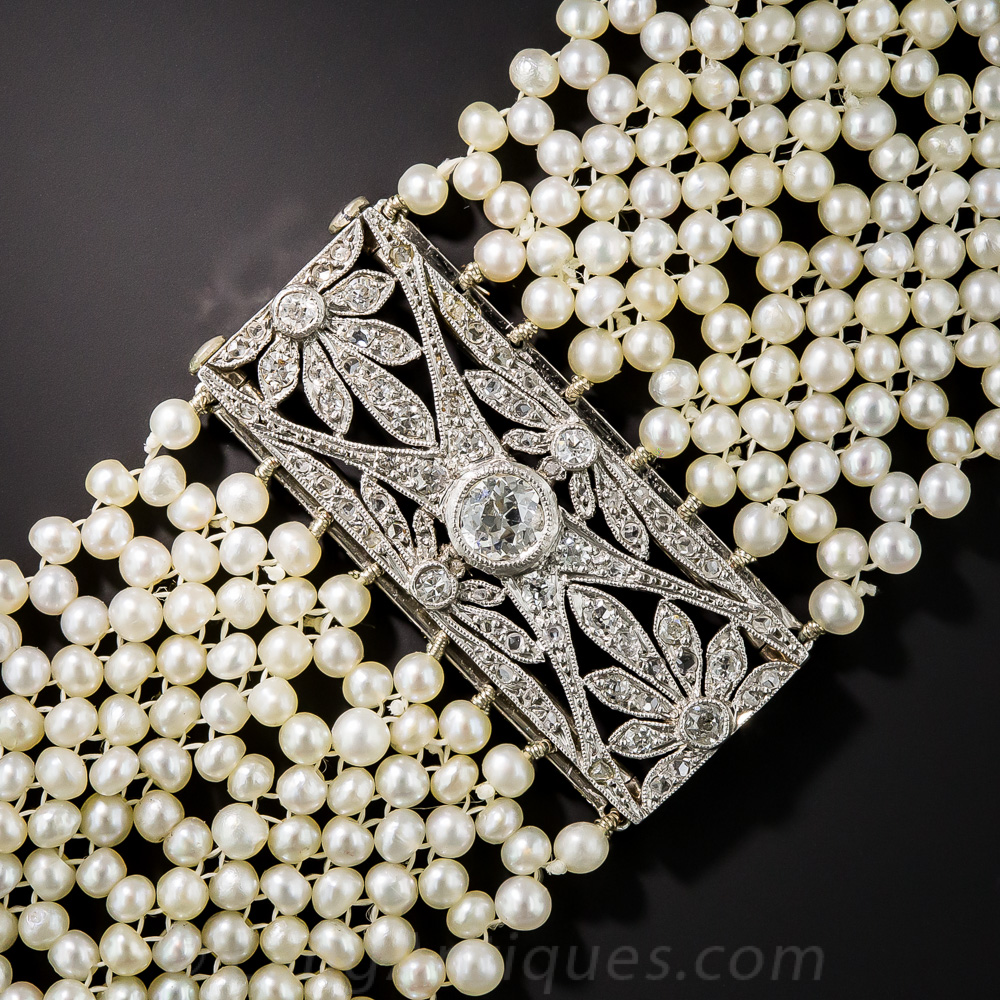 French Edwardian Diamond And Seed Pearl Choker