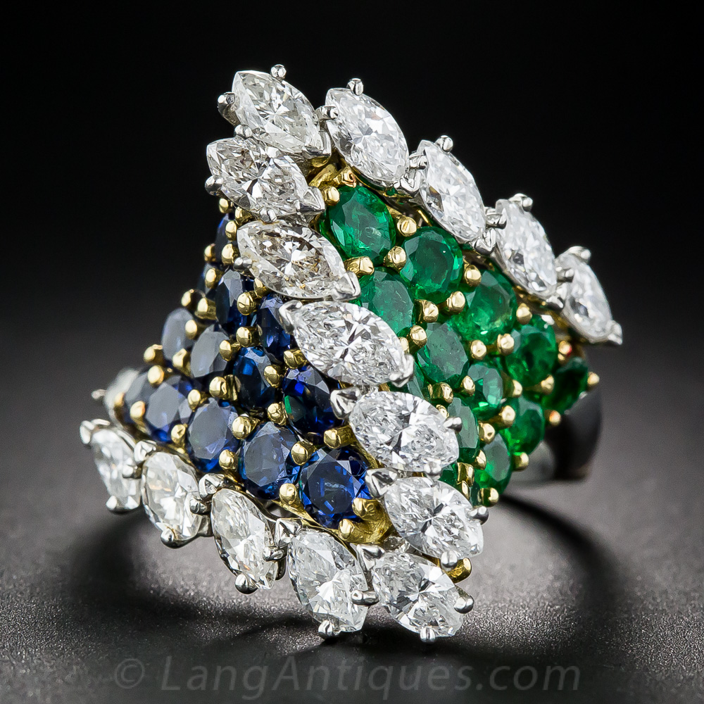 French Emerald Sapphire And Diamond Cocktail Ring