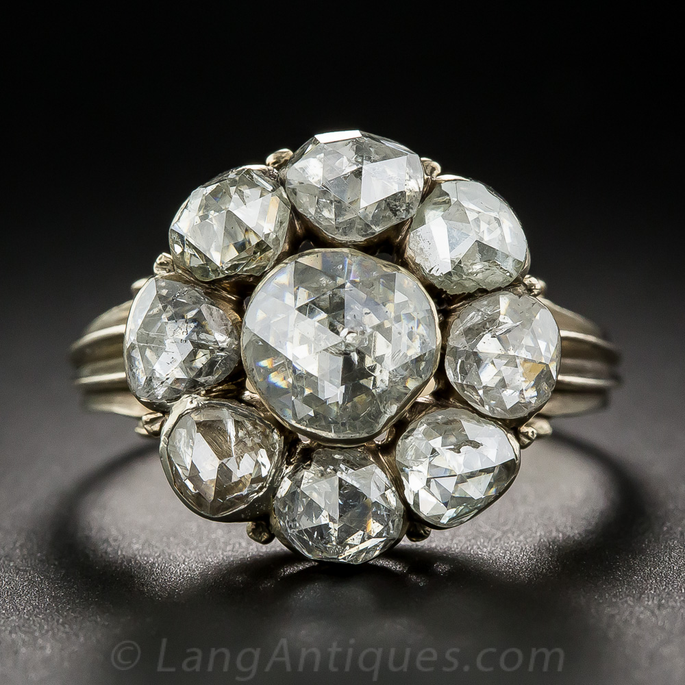 Georgian Style Rose Cut Diamond Cluster Ring Antique