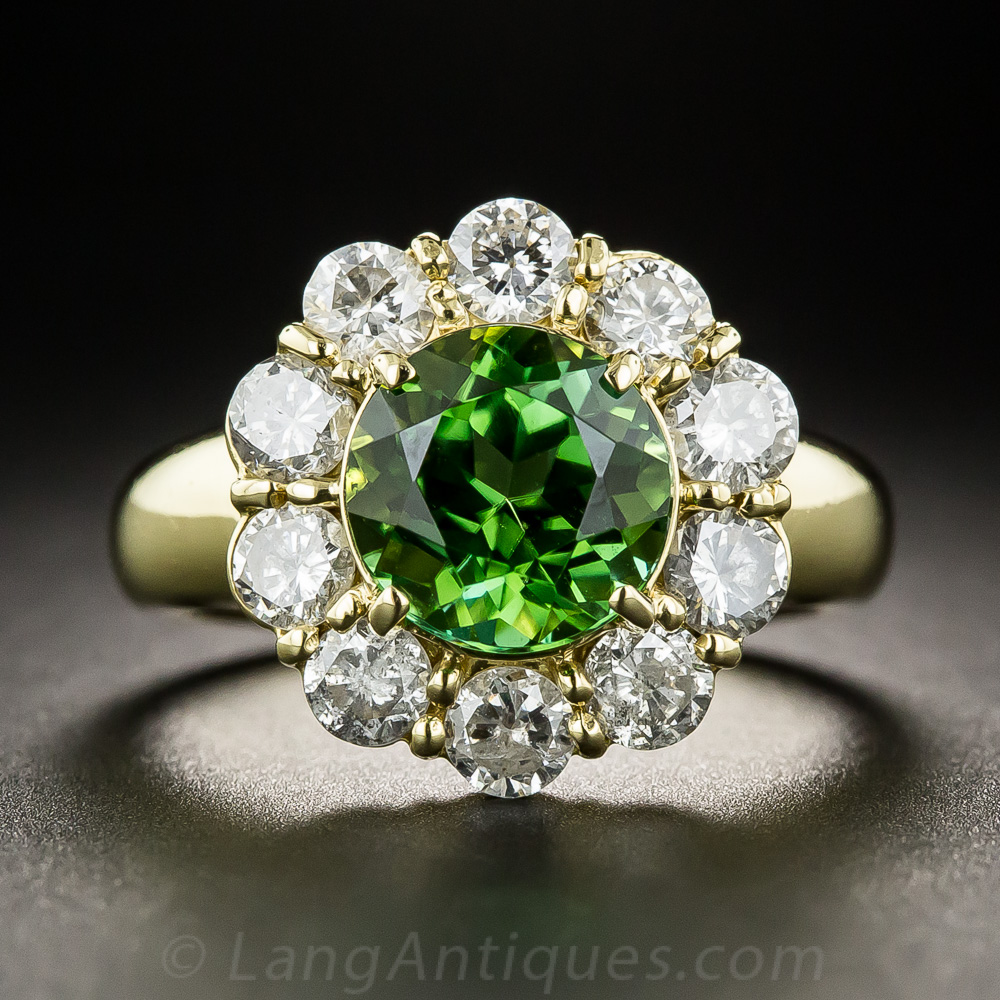 Green Tourmaline And Diamond Halo Ring Vintage Gemstone