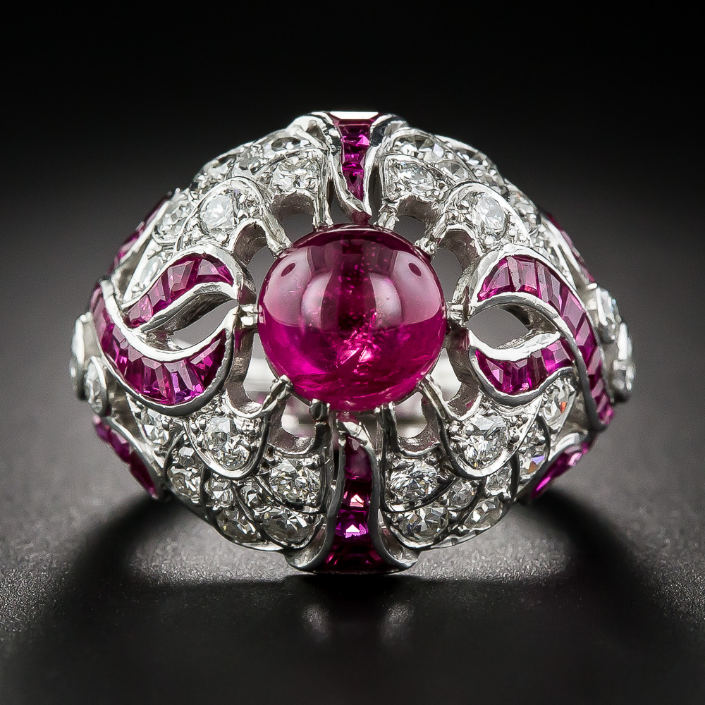 Large Art Deco Cabochon Ruby Ring