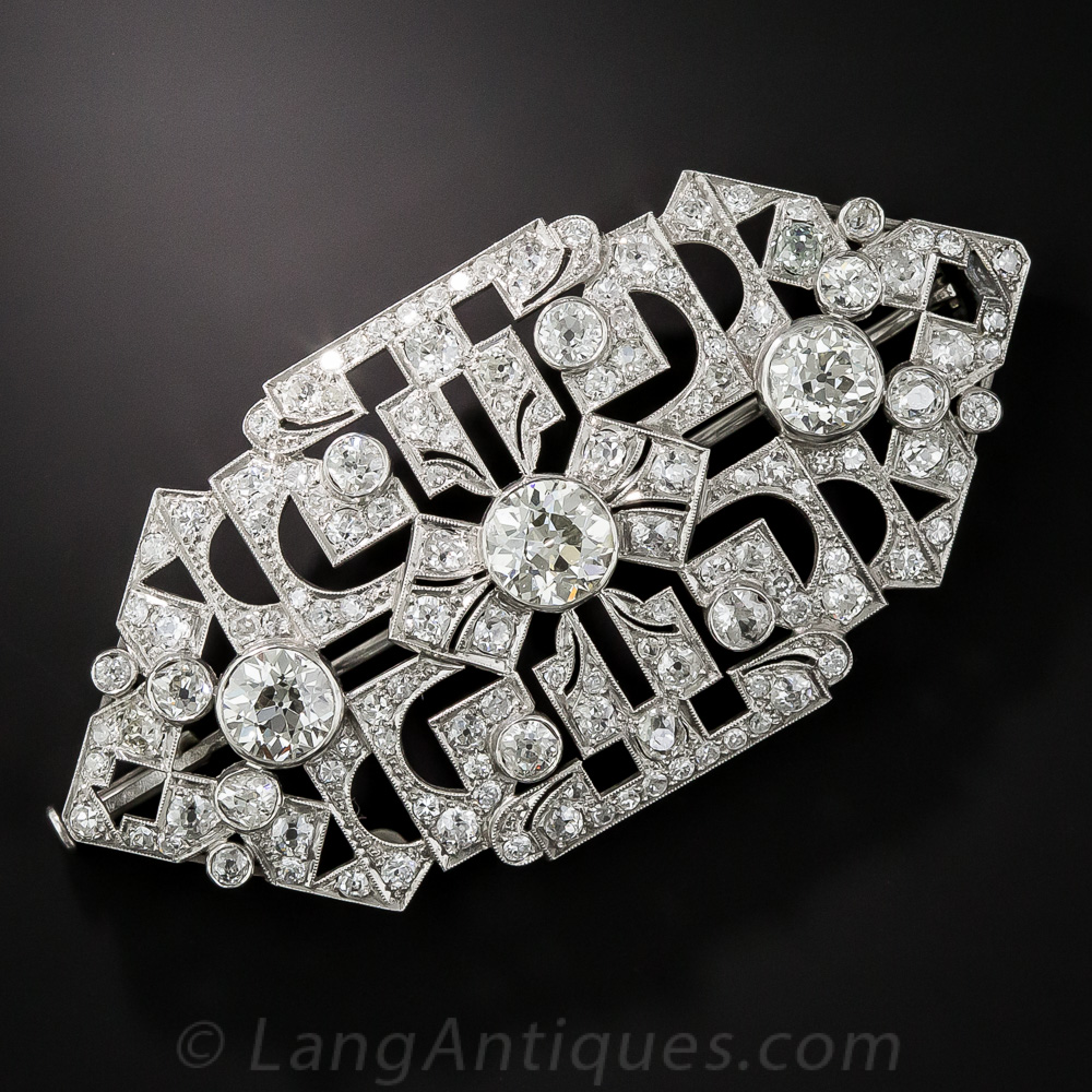 Large Art Deco Diamond and Platinum Brooch