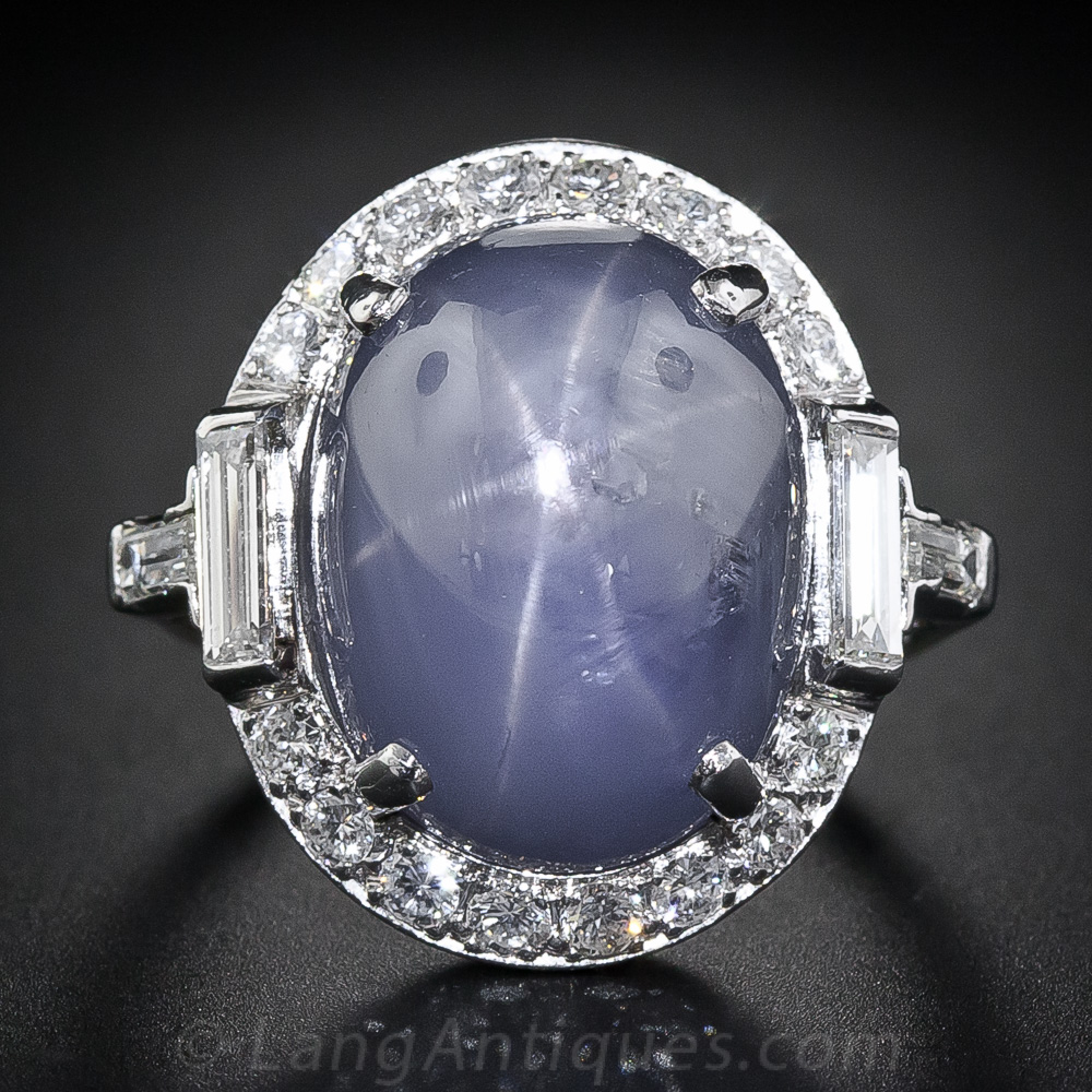 Large Art Deco Star Sapphire And Platinum Diamond Ring