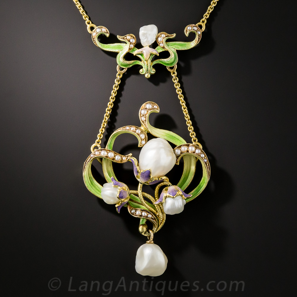 Large Art Nouveau Enamel And Pearl Pendant By Bippart