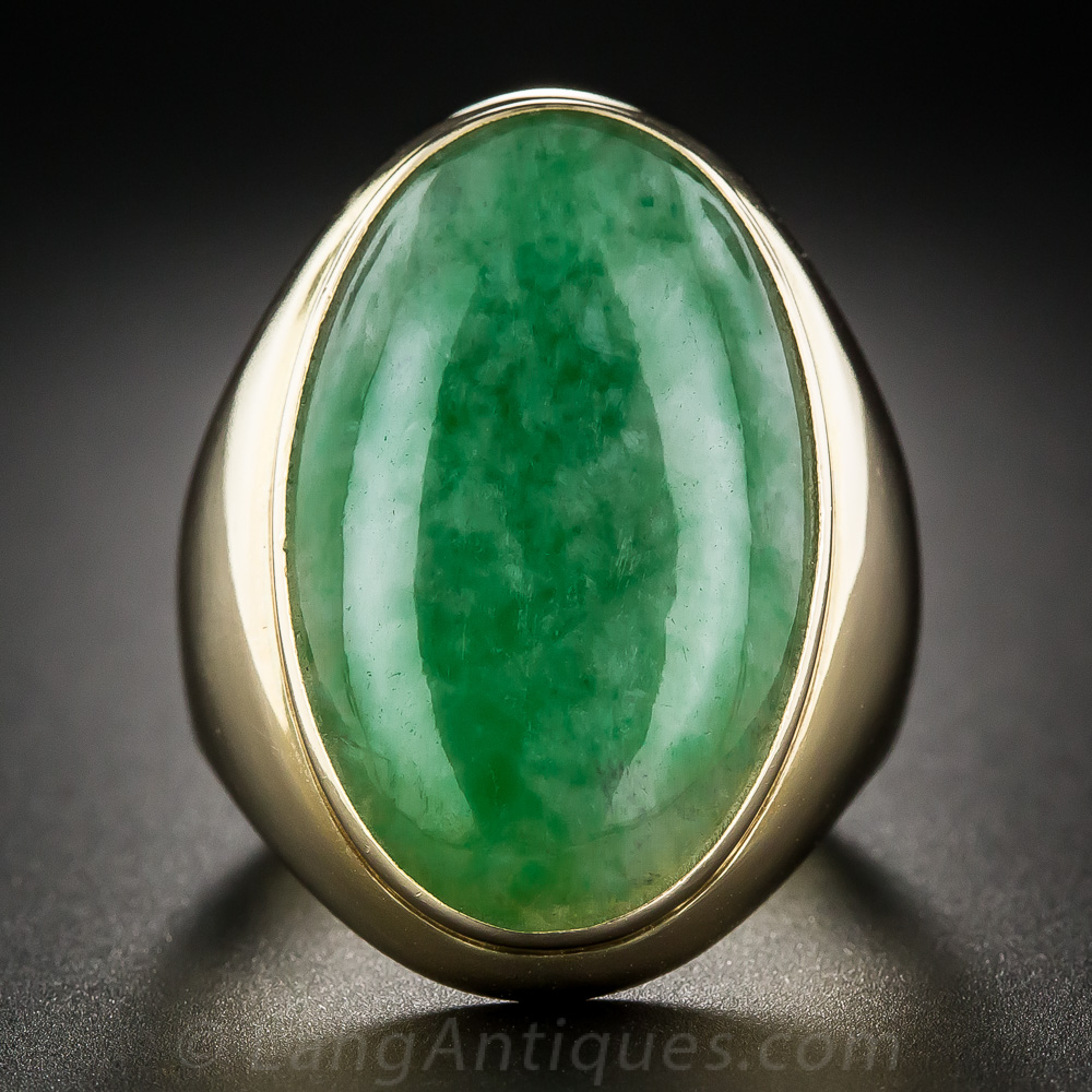 Large Gent S Natural Jadeite Ring Antique Amp Vintage