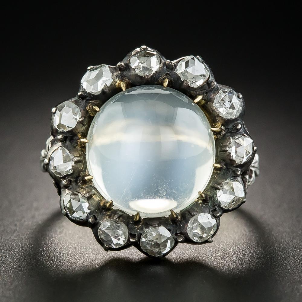 Large georgian style cats eye moonstone diamond ring for Cat s eye moonstone jewelry