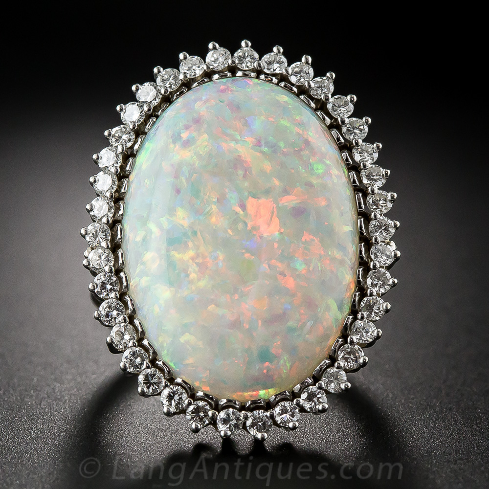 Vintage Watches For Sale >> Large Opal and Diamond Cocktail Ring