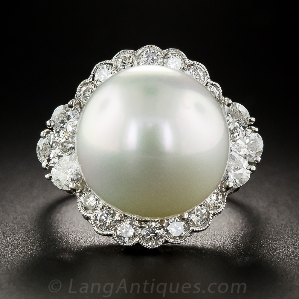 Large South Sea Pearl Platinum And Diamond Ring