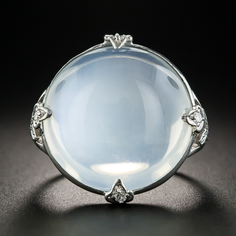 Large Vintage Platinum Moonstone Ring