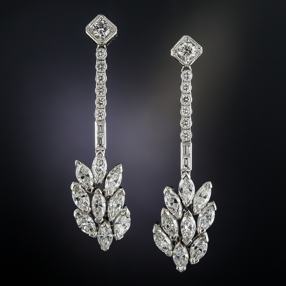 Long Platinum Diamond Drop Earrings Vintage Jewelry