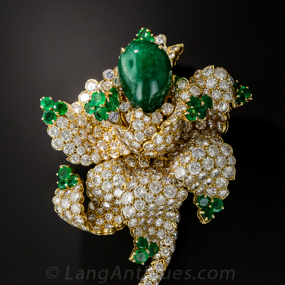 Magnificent Emerald And Diamond Flower Brooch Antique