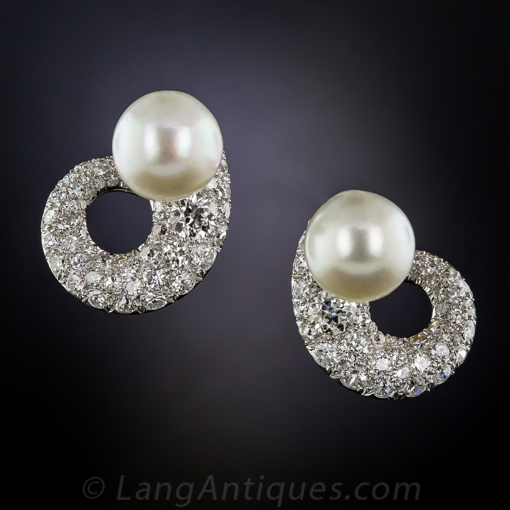 Mid Century Classic Diamond And Pearl Earrings Antique