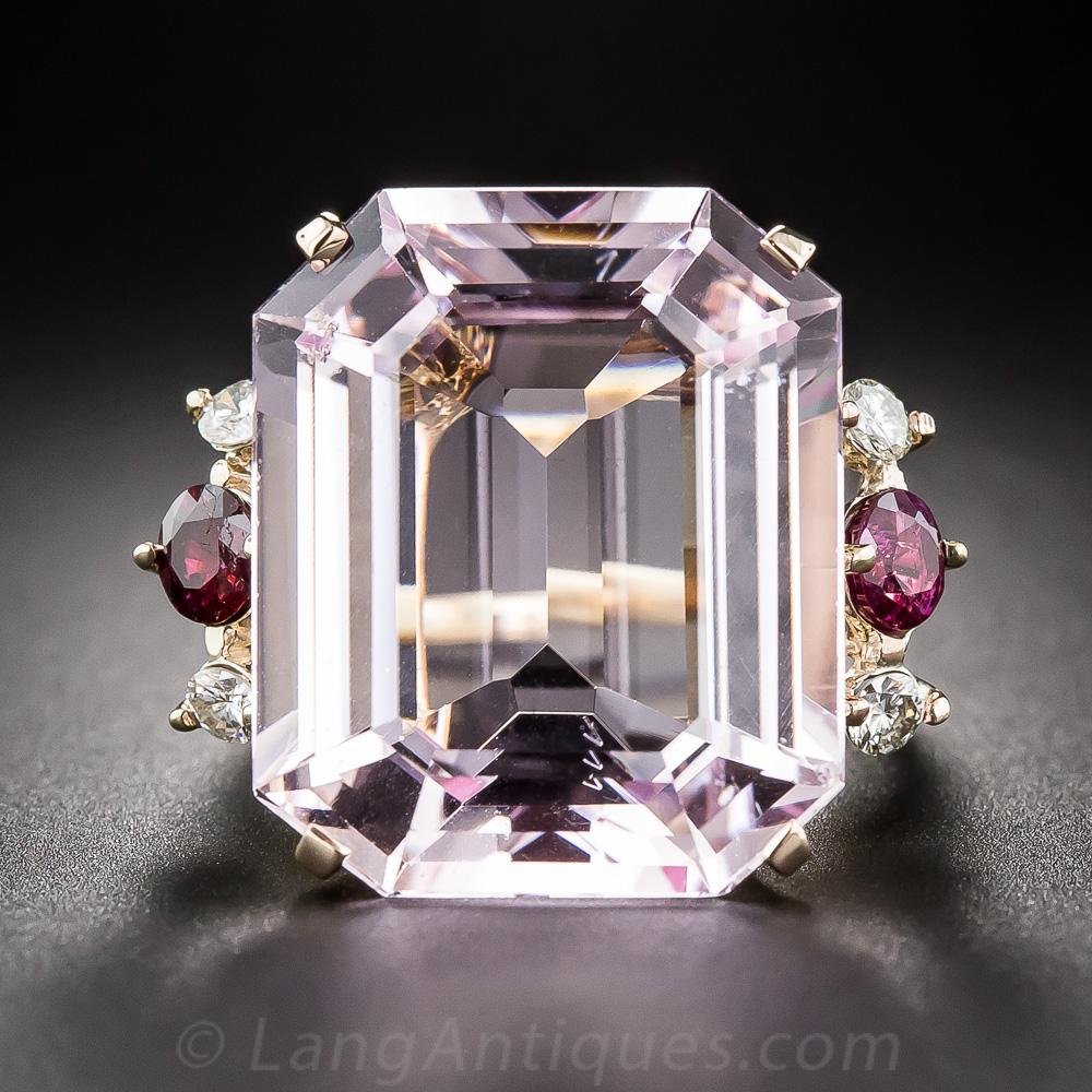 Mid Century Morganite Ruby And Diamond Ring
