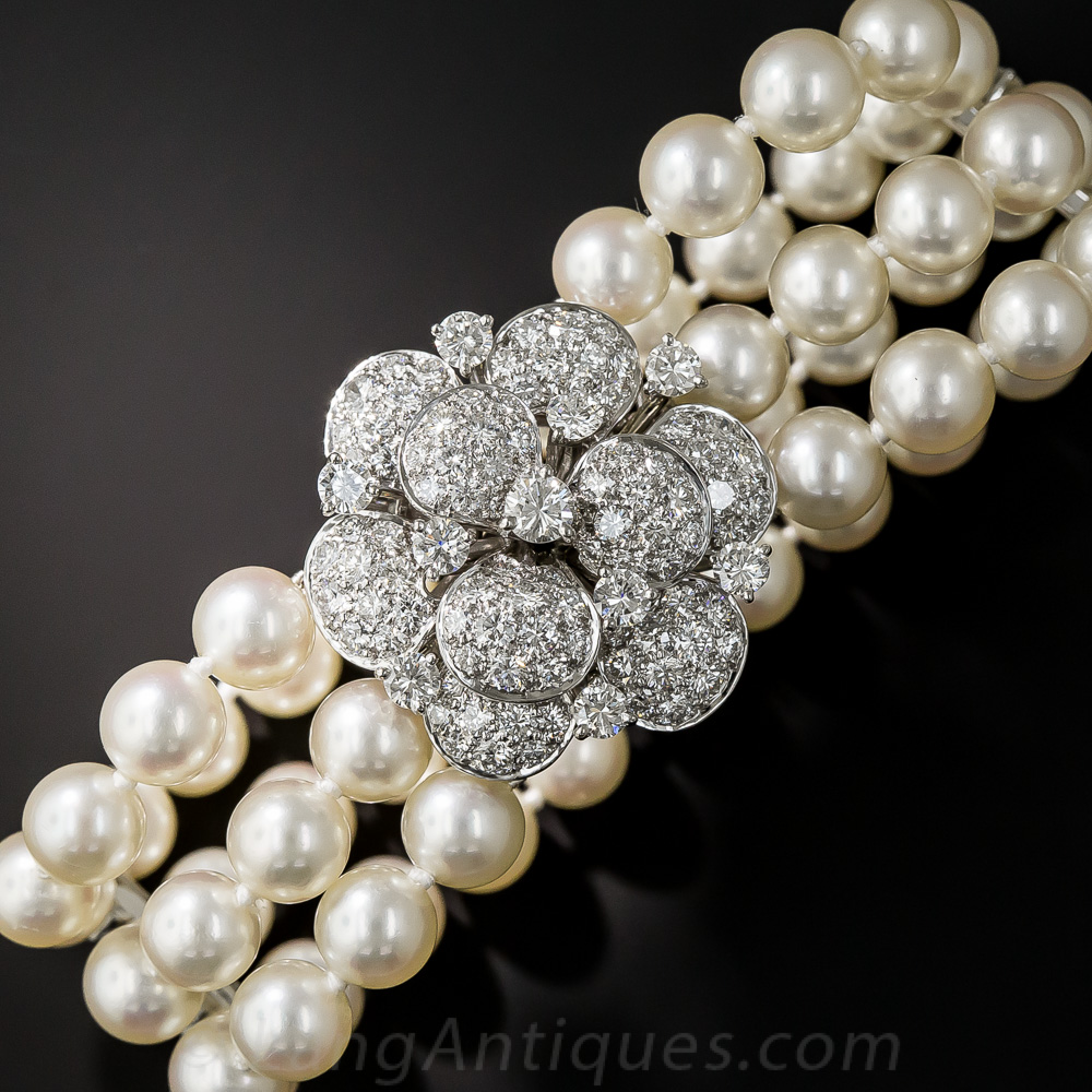 Pearl Platinum: Mid-Century Pearl, Platinum And Diamond Bracelet